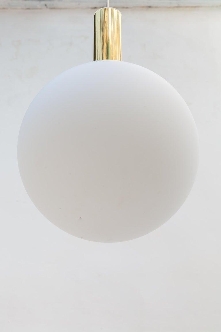 Glashütte Limburg Brass Opaline Globe Pendants Set of Six, 1970s In Good Condition For Sale In Antwerp, BE