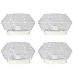 Glashütte Limburg Geometric Flush Mount Lights / Lamps White & Clear Glass 1970s