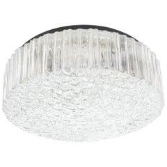 Glashutte Limburg Glass Flush Mount Ceiling Light, Germany, 1960