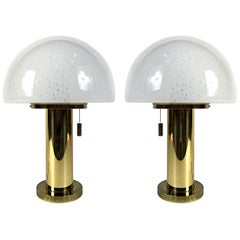 Glashütte Limburg Mushroom Brass Table Lamps, Blown Glass Shades, 1970s, Germany