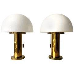 Glashütte Limburg Mushroom Table Lamps Set of Two, Germany, 1970s