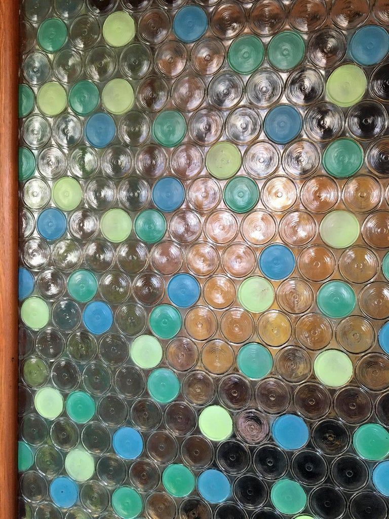Mid-Century Modern Glass 2 Panel Screen For Sale