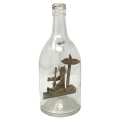 """Glass 20th Century Calvados """"Ship in a Bottle"""" and Decanter"""