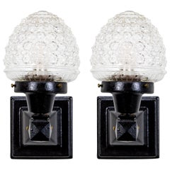 Glass Acorn Iron Mounted Sconces, Pair