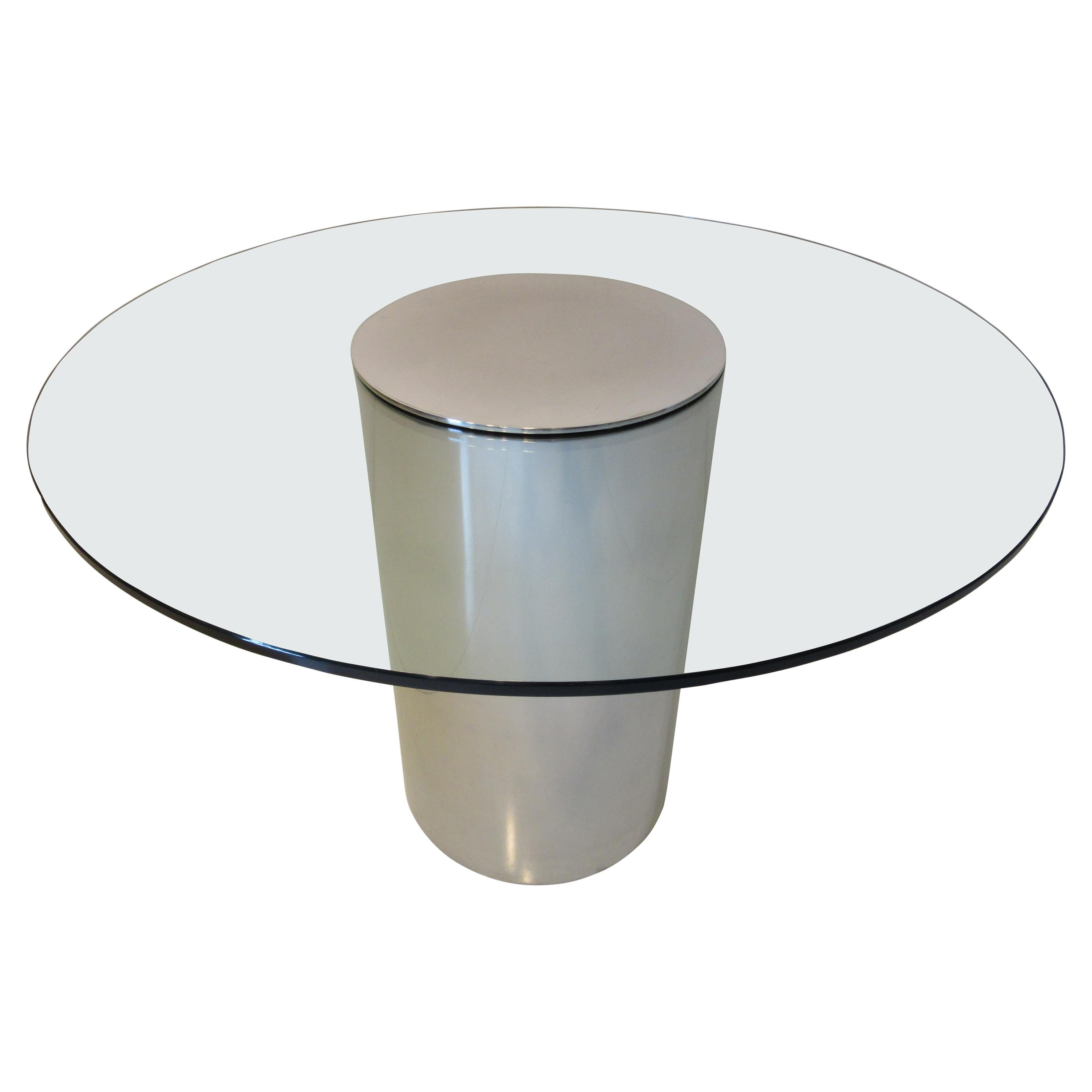 Glass / Aluminum Café Dining Table in the Style of Pace