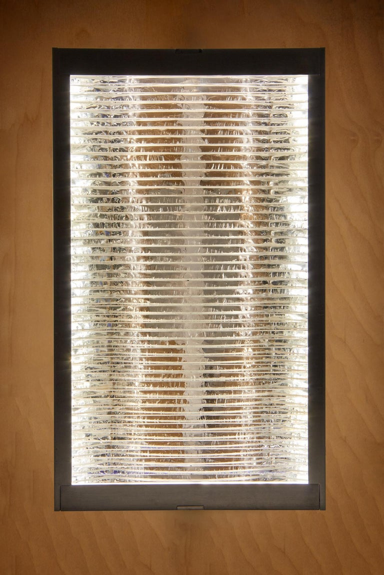 Hand-Crafted Glass and Aluminum Contemporary LED Light Wall Sconce For Sale
