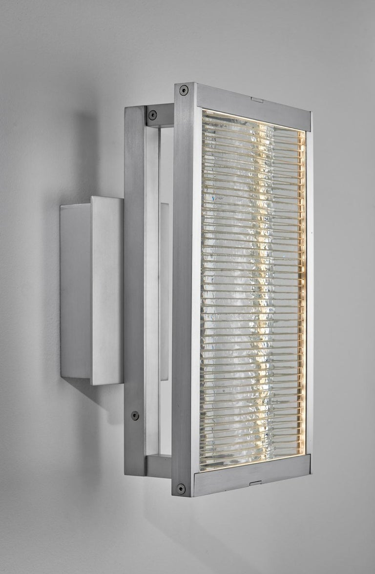 Modern Glass and Aluminum Contemporary LED Light Wall Sconce For Sale