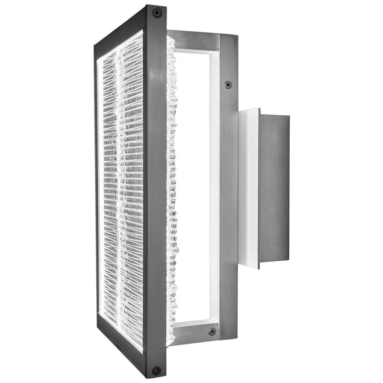Glass and Aluminum Contemporary LED Light Wall Sconce For Sale