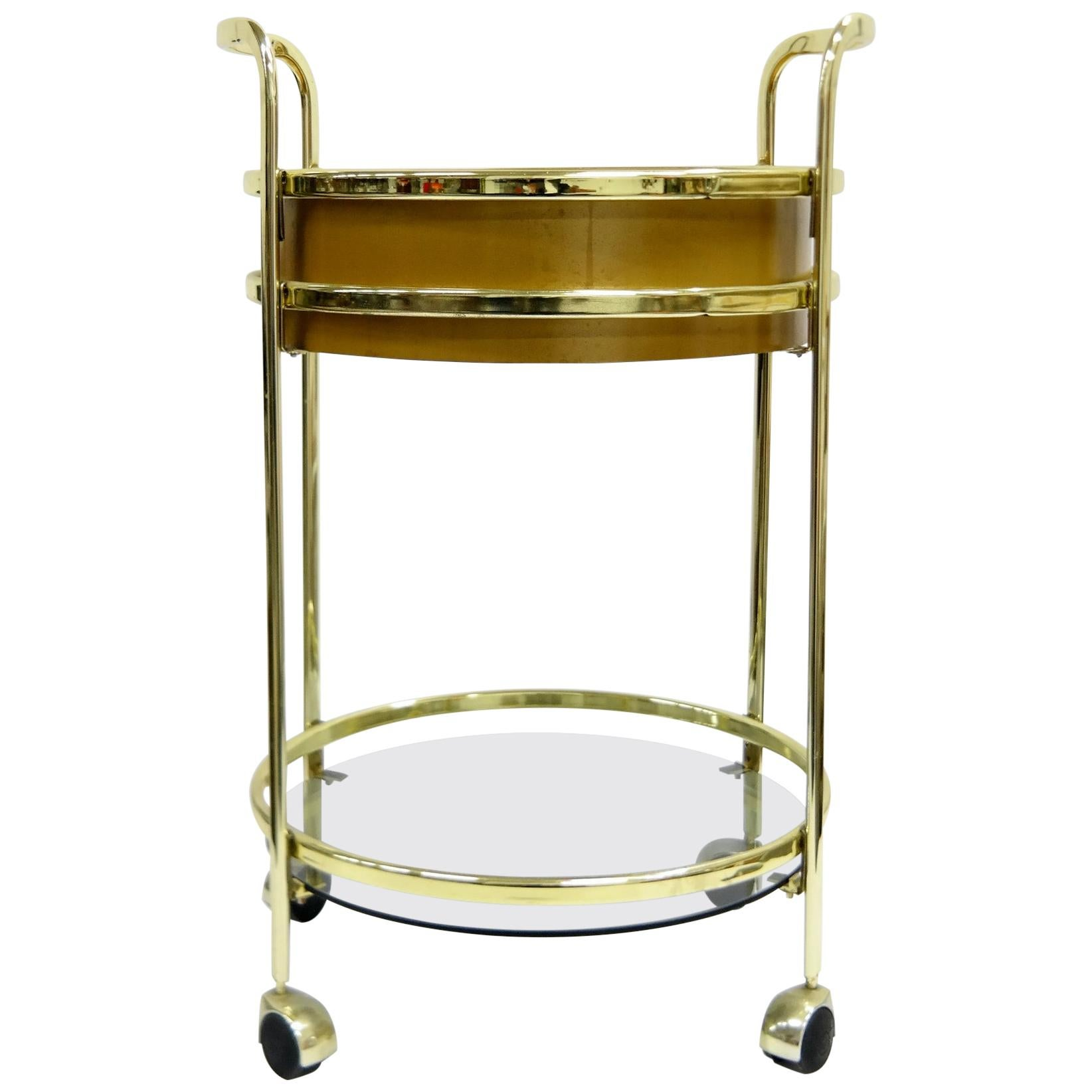 Glass and Brass Bar Cart, 1980s