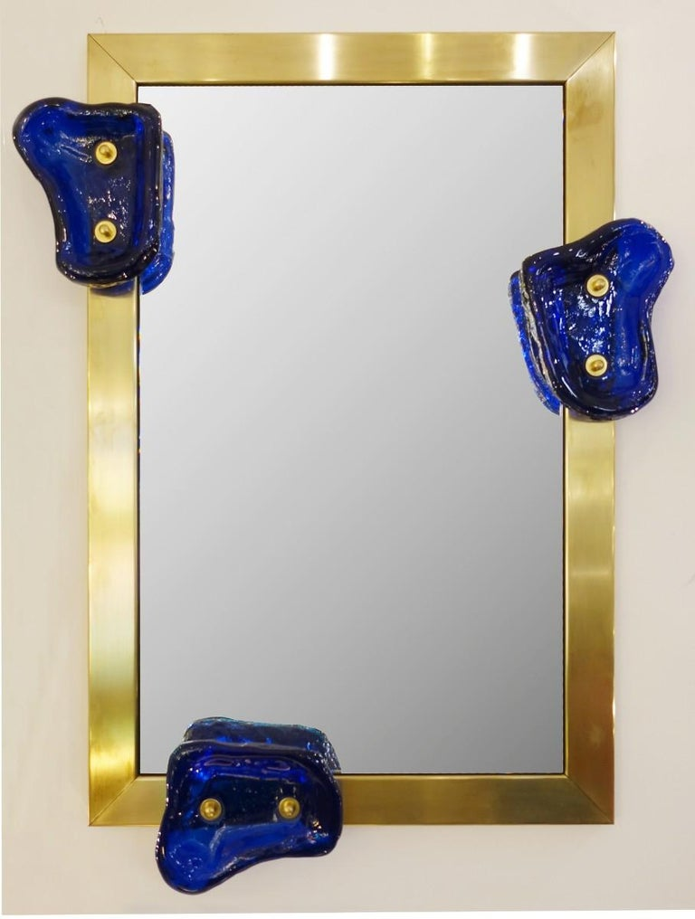 Glass and Brass Contemporary Mirror, Belgian Creation by Jacques Nonnon For Sale 1