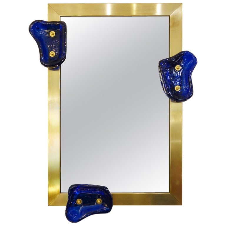 Glass and Brass Contemporary Mirror, Belgian Creation by Jacques Nonnon For Sale