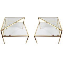 Glass and Brass Double Shelf Italian Coffee Tables with Mirrored Edge, 1970s