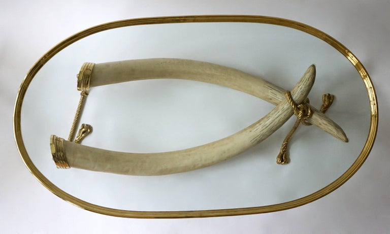 Mid-Century Modern Glass and Brass Elephant Tusk Base Coffee Table by Valenti, 1970s For Sale