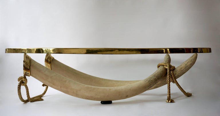 Spanish Glass and Brass Elephant Tusk Base Coffee Table by Valenti, 1970s For Sale