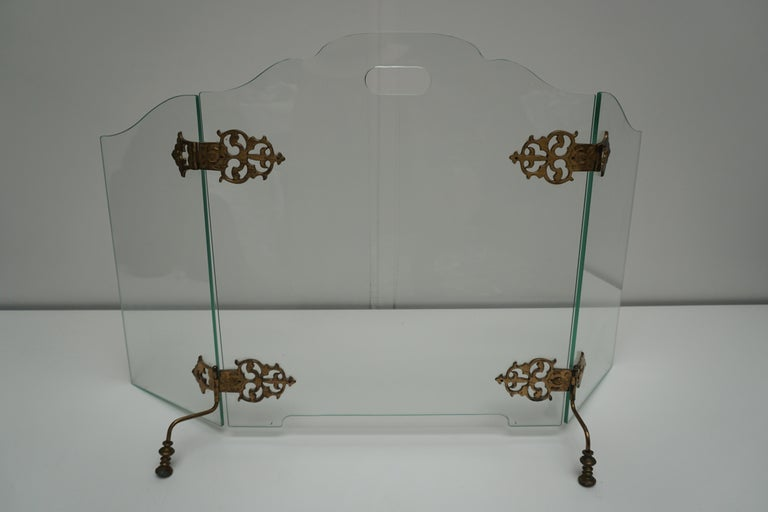 Hollywood Regency Glass and Brass Fireplace Screen For Sale