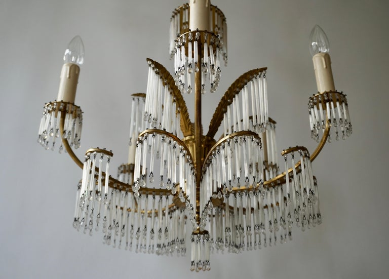Glass and Brass Gilt Palm Leaf Chandelier in the Style of Maison Jansen For Sale 4