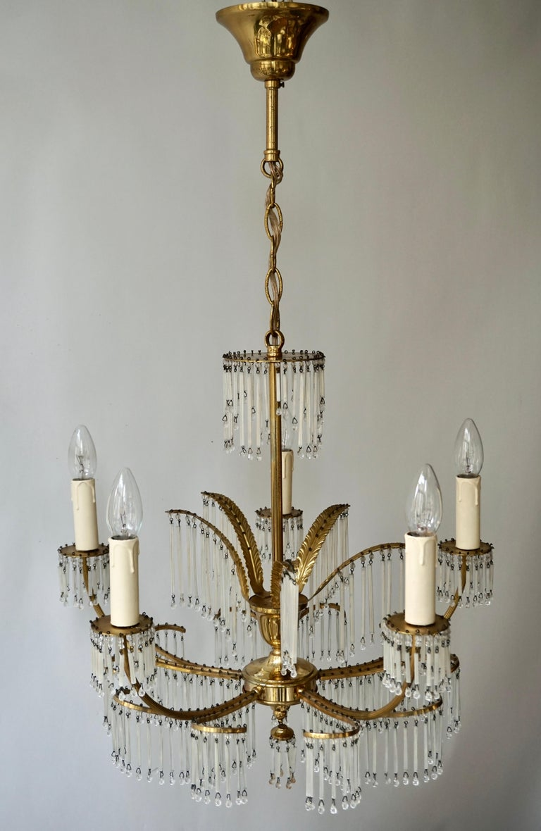 Italian Glass and Brass Gilt Palm Leaf Chandelier in the Style of Maison Jansen For Sale