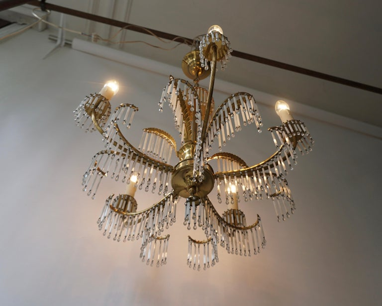 20th Century Glass and Brass Gilt Palm Leaf Chandelier in the Style of Maison Jansen For Sale