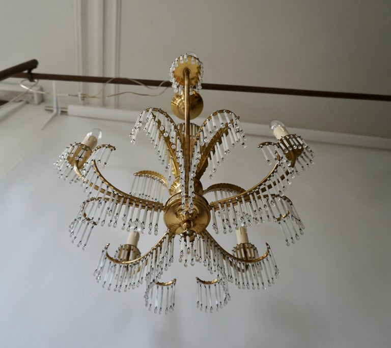 Glass and Brass Gilt Palm Leaf Chandelier in the Style of Maison Jansen For Sale 1