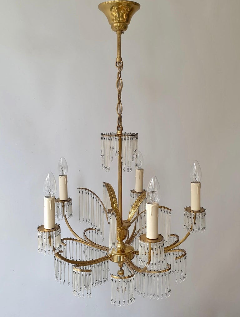 Glass and Brass Gilt Palm Leaf Chandelier in the Style of Maison Jansen For Sale 3