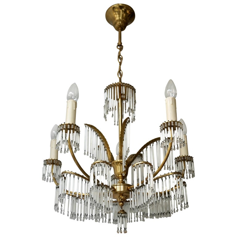 Glass and Brass Gilt Palm Leaf Chandelier in the Style of Maison Jansen For Sale