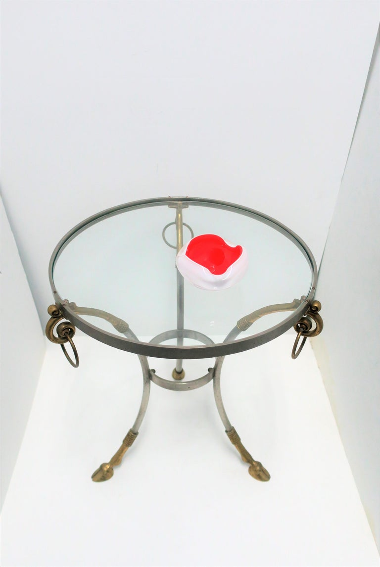 Glass and Brass Gueridon Side or Drinks Table in the Style of Maison Jansen For Sale 6