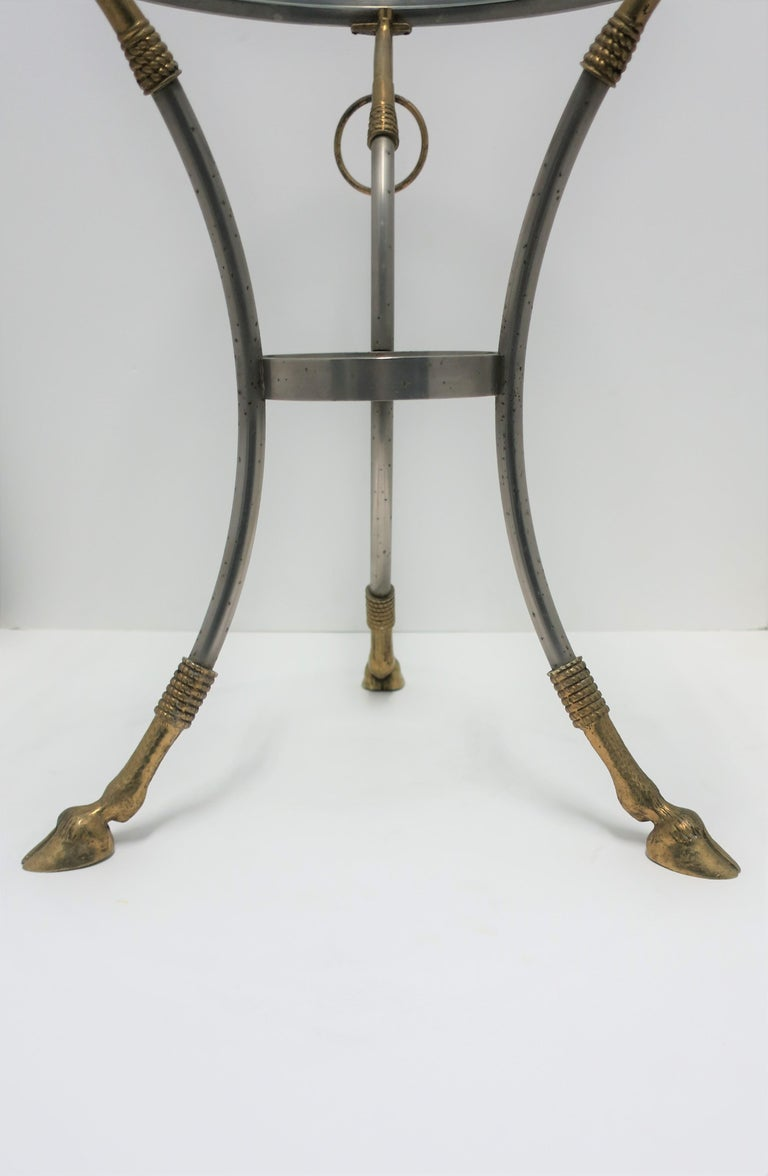 Glass and Brass Gueridon Side or Drinks Table in the Style of Maison Jansen For Sale 9
