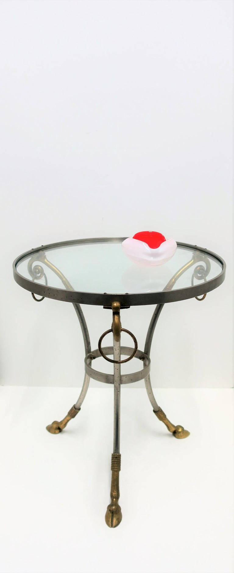 French Glass and Brass Gueridon Side or Drinks Table in the Style of Maison Jansen For Sale