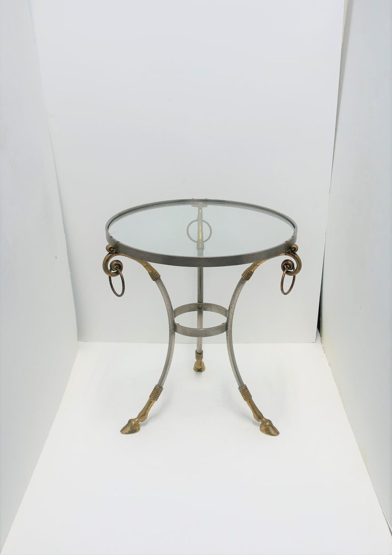 Glass and Brass Gueridon Side or Drinks Table in the Style of Maison Jansen For Sale 1