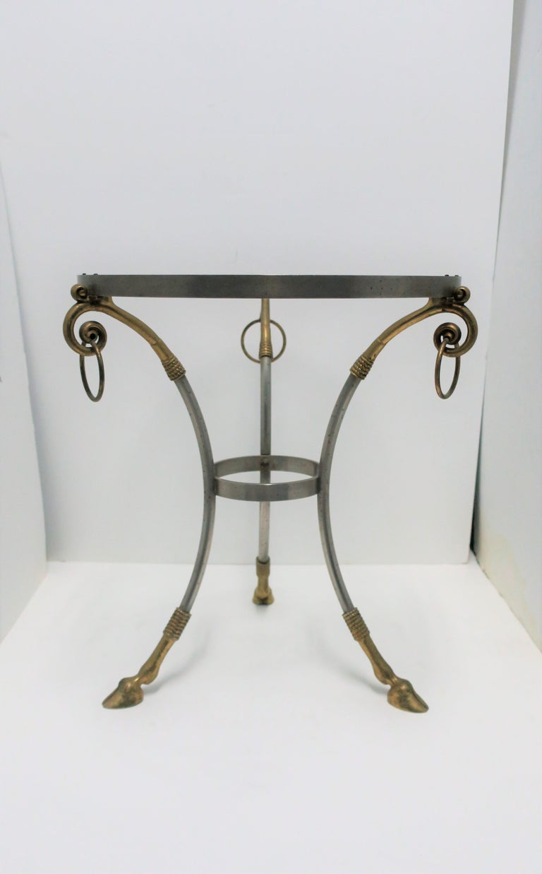 Glass and Brass Gueridon Side or Drinks Table in the Style of Maison Jansen For Sale 2