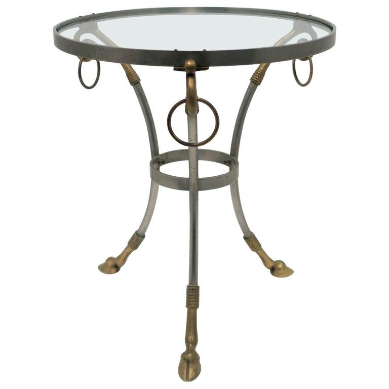 Glass and Brass Gueridon Side or Drinks Table in the Style of Maison Jansen For Sale