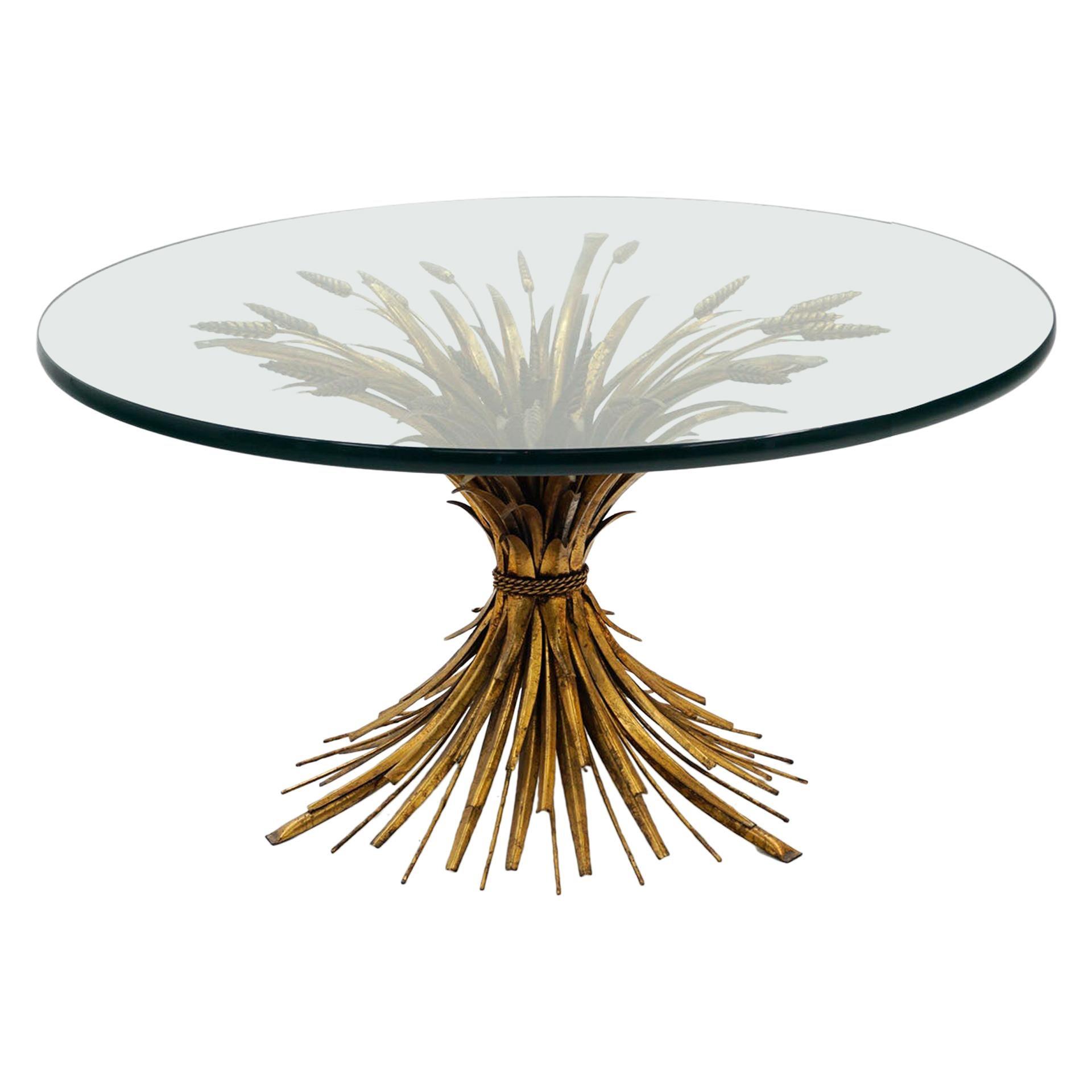 "Glass and Brass Italian Coffee Table, Sheaf of Wheat Base, Original 3/4"" Glass"