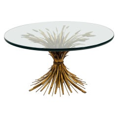 "Glass and Brass Italian Coffee Table, Sheaf of Wheat Base, Original 3/4"" Glass"