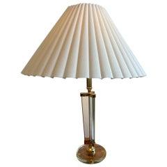 Glass and Brass Italian Table Lamp Attr. Fontana Arte