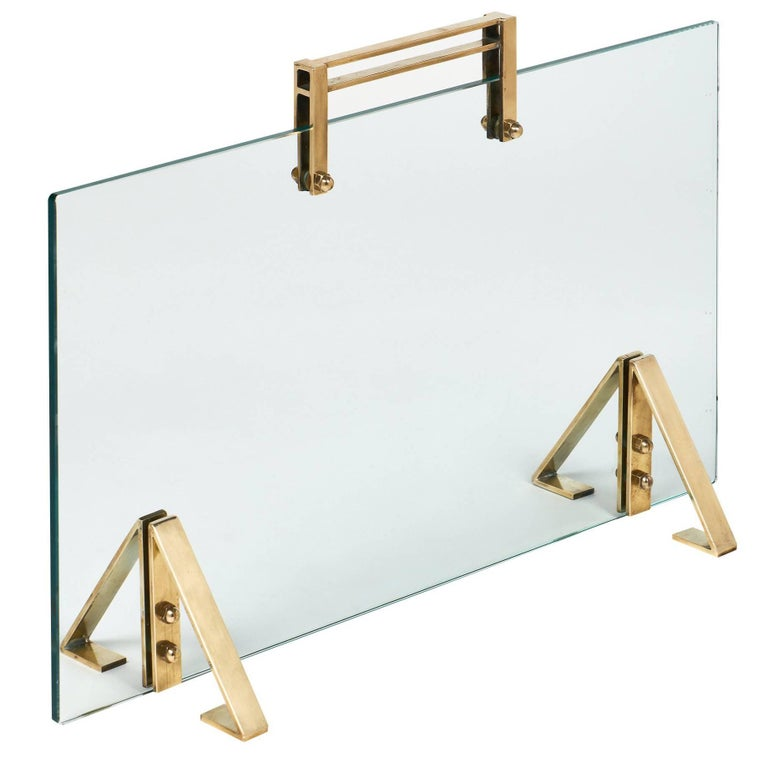 Glass and Brass Midcentury Fire Screen Attributed to Jacques Adnet