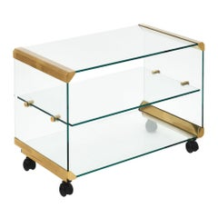 Glass and Brass Modernist Side Table