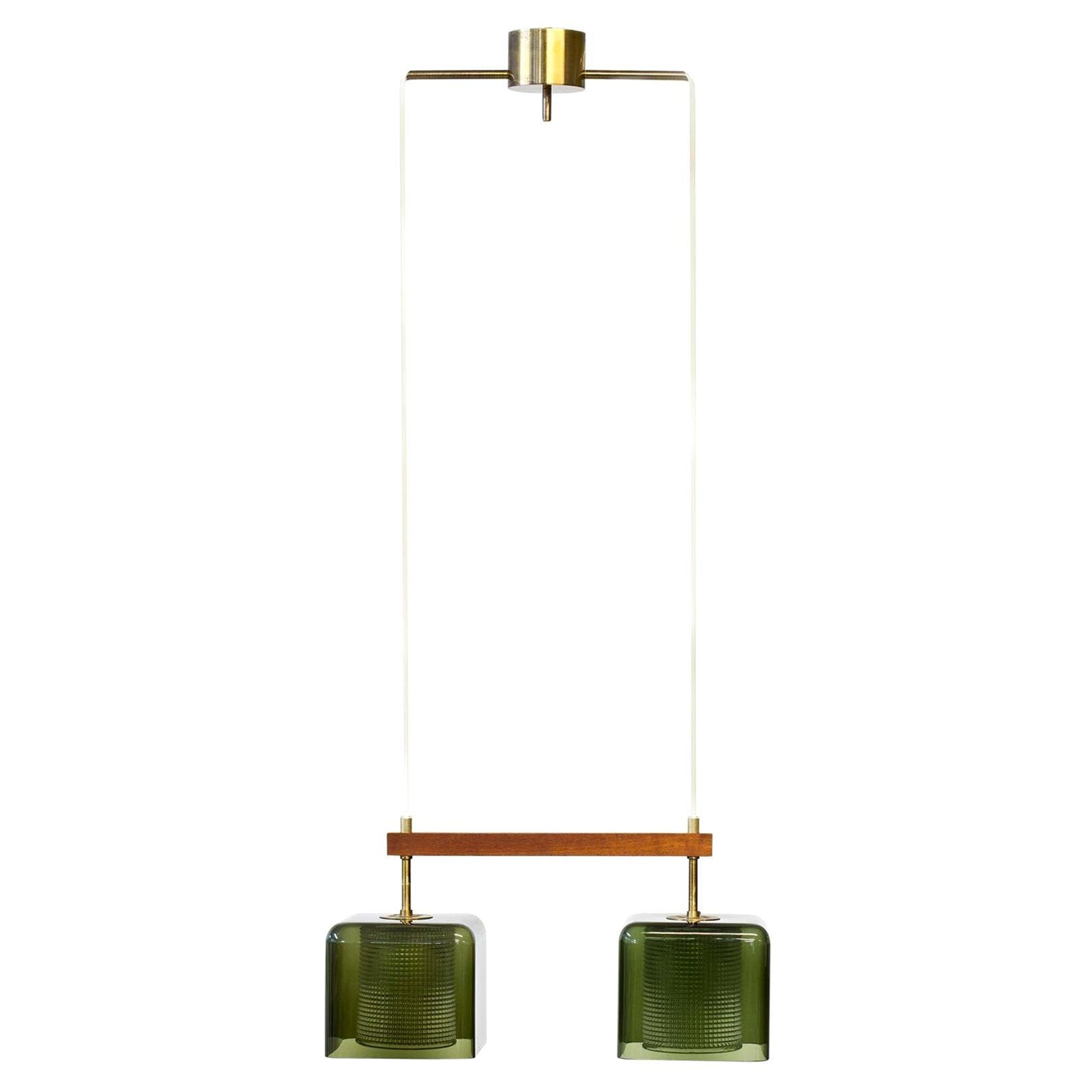 Glass and Brass Pendant Lamp by Carl Fagerlund for Orrefors