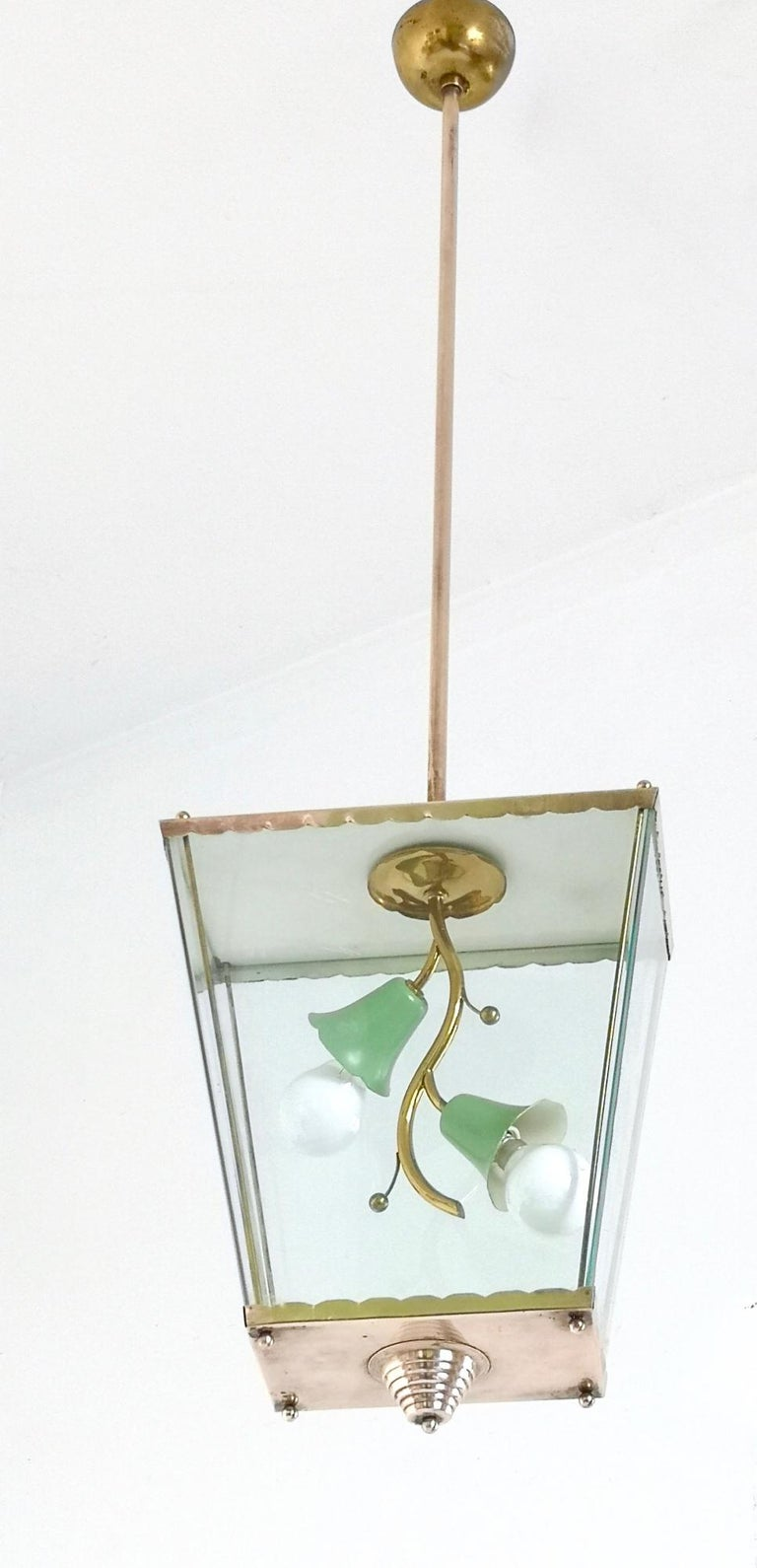 Italian Glass and Brass Pendant Lantern in the Style of Fontana Arte, Italy, 1940s For Sale