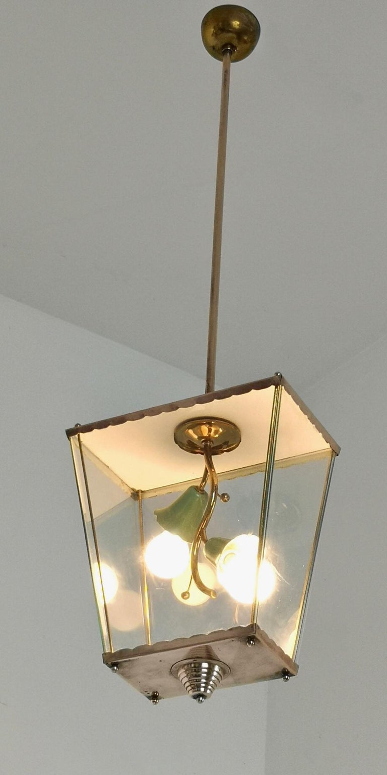 Varnished Glass and Brass Pendant Lantern in the Style of Fontana Arte, Italy, 1940s For Sale