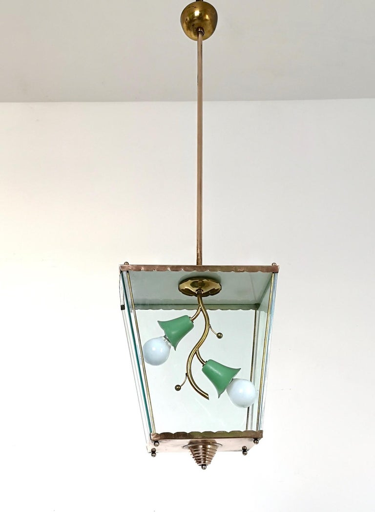 Glass and Brass Pendant Lantern in the Style of Fontana Arte, Italy, 1940s In Excellent Condition For Sale In Bresso, Lombardy