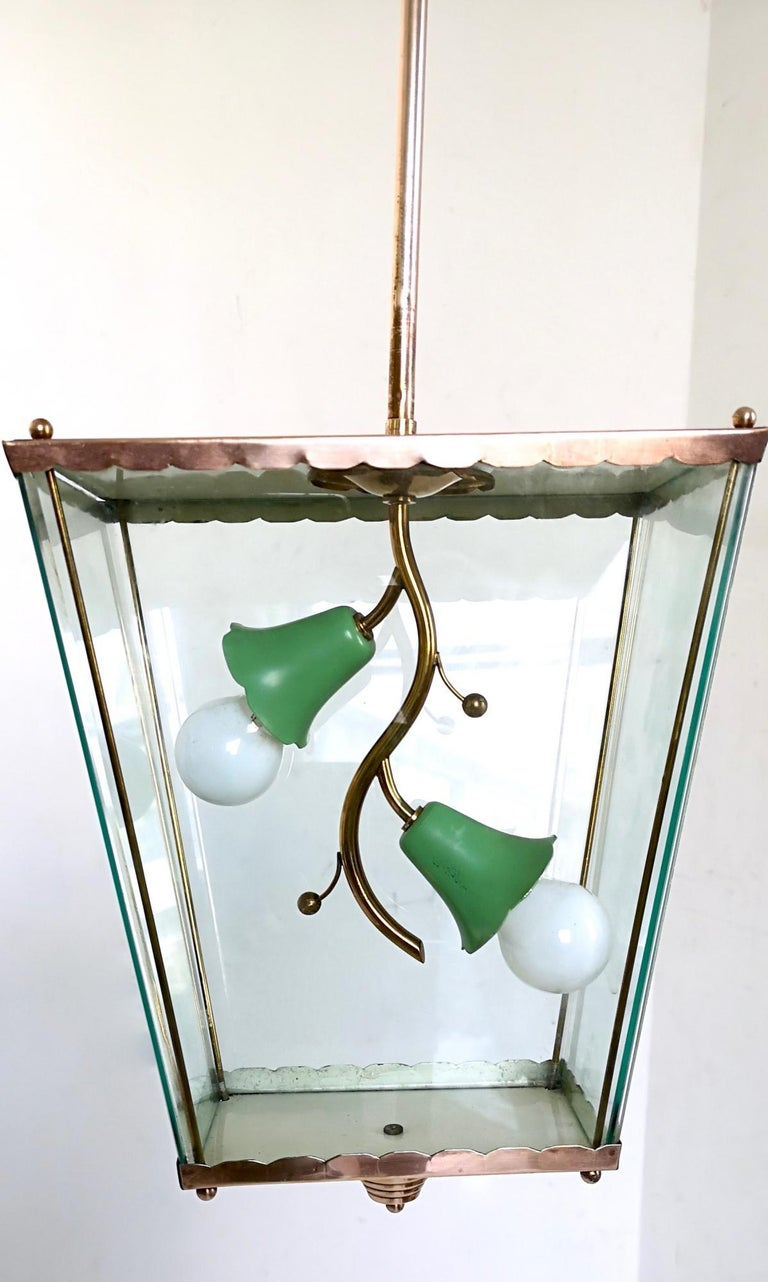 Mid-20th Century Glass and Brass Pendant Lantern in the Style of Fontana Arte, Italy, 1940s For Sale