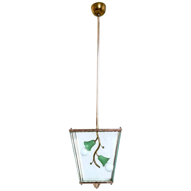 Glass and Brass Pendant Lantern in the Style of Fontana Arte, Italy, 1940s For Sale