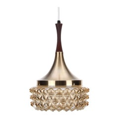 Glass and Brass Pendant Light, 1960s, Scandinavian Lamp with Pressed Glass