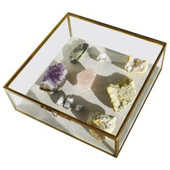 Glass and Brass Shadow Box with Linen Backing and Gemstone Quartz Rocks