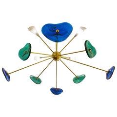 "Glass and Brass Sputnik Chandelier, Belgian Creation Signed ""JN"""