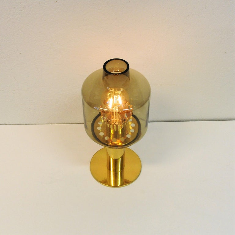 Scandinavian Modern Glass and Brass Table Lamp B102 by Hans-Agne Jakobsson, 1960s, Sweden For Sale