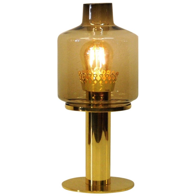 Glass and Brass Table Lamp B102 by Hans-Agne Jakobsson, 1960s, Sweden For Sale