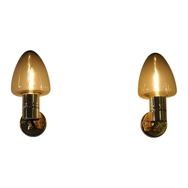 Glass and Brass Wall Lamps V-220 by Hans-Agne Jakobsson, 1950s, Sweden