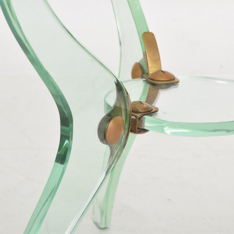 Glass and Bronze Coffee Table Attributed Fontana Arte Italian Mid-Century Modern For Sale 2