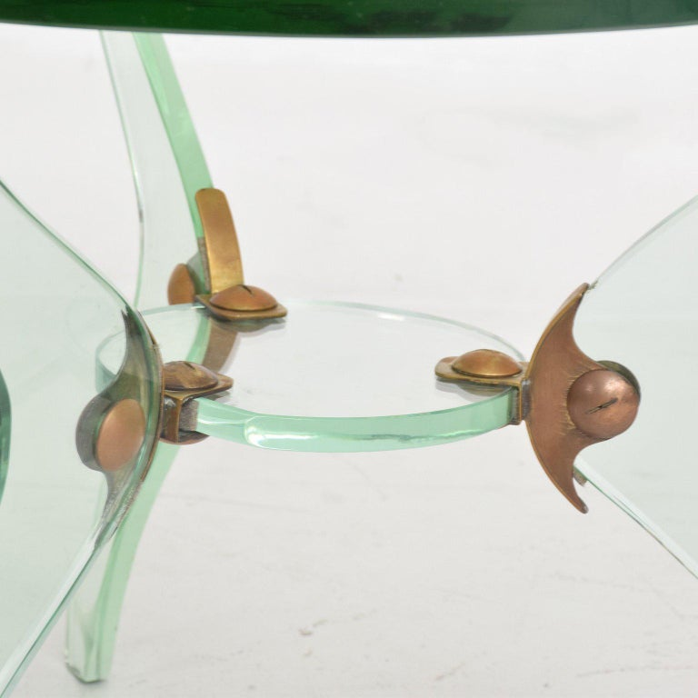 Glass and Bronze Coffee Table Attributed Fontana Arte Italian Mid-Century Modern For Sale 4